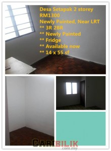 Desa Setapak 2.5 storey For rent RM1300 Newly Painted, Near LRT Wangsa Maju