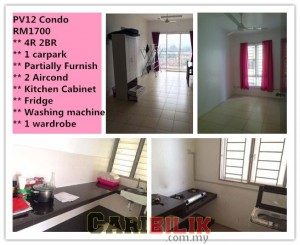 PV12 Condo For rent RM1700 Partly Furnish