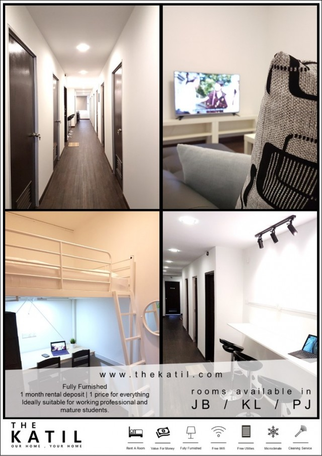 Fully Furnished, Aircond & WiFi Cheras Coliving Hostel Rooms for Rent from RM800 per month close to Taman Mutiara MRT!