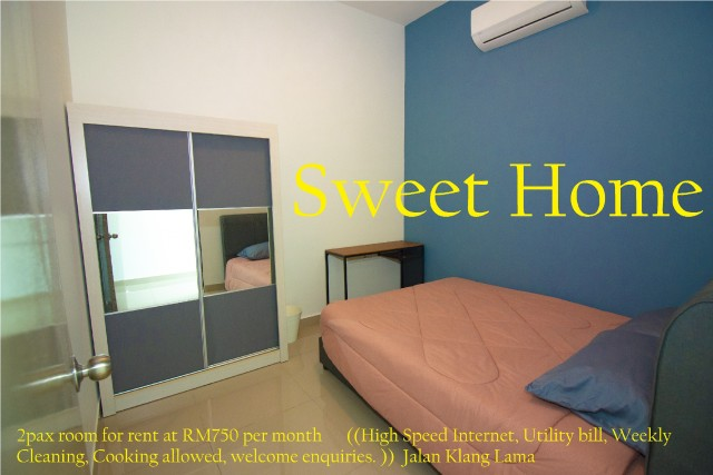 2pax middle room for rent Old Klang Road@750 all in
