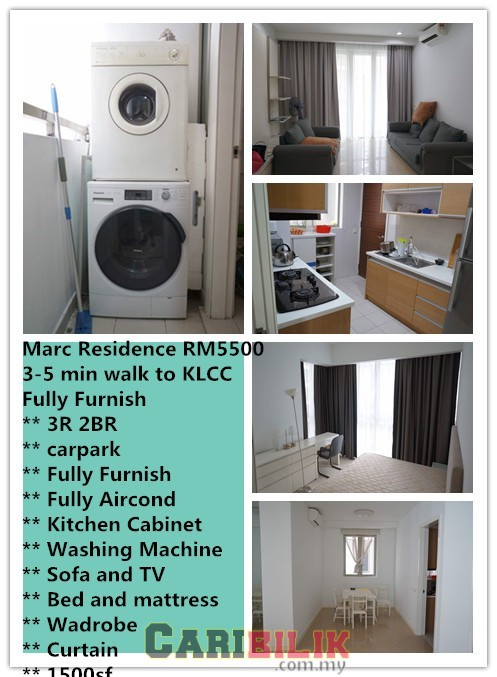 Marc Residence For rent RM5500, 3-5 min walking distance to KLCC, Fully Furnish